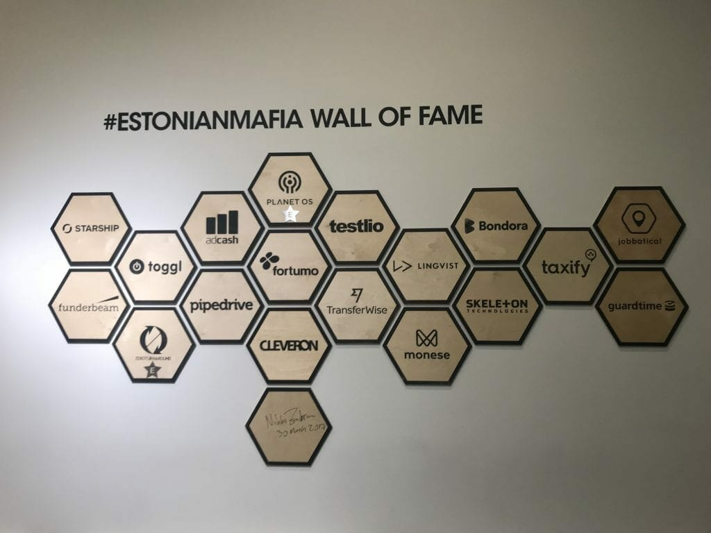 the #EstonianMafia start-ups wall of fame, at Lift99 coworking space in Tallinn
